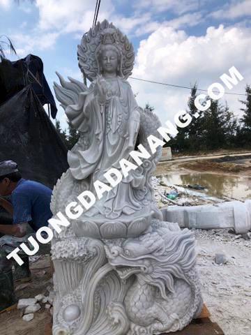 tượng đá Quan Âm rồng 4m đẹp